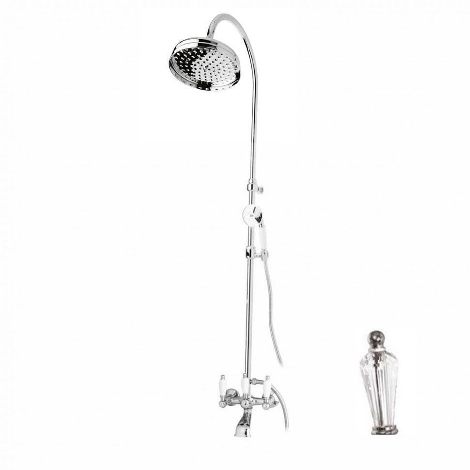 Душевая стойка Cezares Diamond CVD-01-Sw душевая система belbagno slip со смесителем для ванны верхним и ручным душем ручки foglio хром sli doc crm foglio