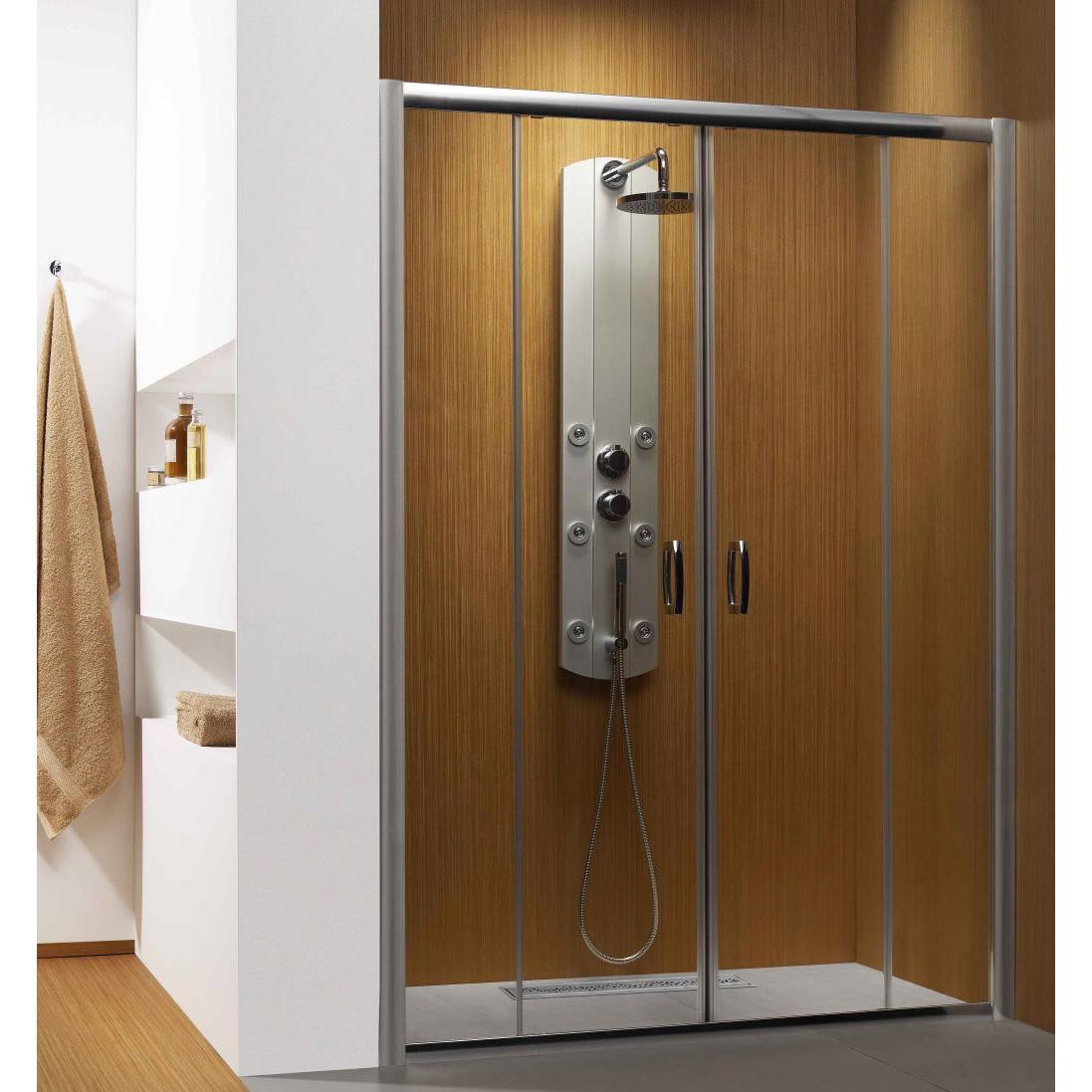 Душевая дверь Radaway Premium Plus DWD 140 хром/коричневое кухонный стол кубика портофино 2 рис 1 ноги хром стекло темно коричневое венге