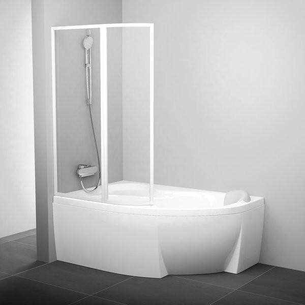Шторка для ванны Ravak VSK2 Rosa 140 L прозрачное стекло шторка для ванны ravak cvs1 80 l блестящий профиль прозрачное стекло