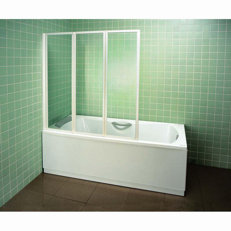Шторка для ванны Ravak VS3 130 белый профиль, матовое стекло