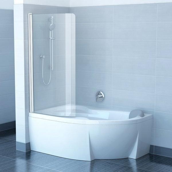 Шторка для ванны Ravak CVSK1 Rosa 140/150 L блестящий профиль, прозрачное стекло