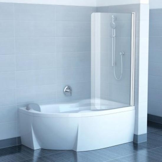Шторка для ванны Ravak CVSK1 Rosa 140/150 R белый профиль, прозрачное стекло