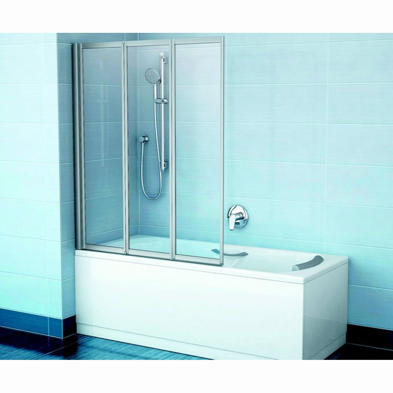 Шторка для ванны Ravak VS3 115 белый профиль, прозрачное стекло шторка на ванну ravak vs3 115 115х140 см рейн 795s010041