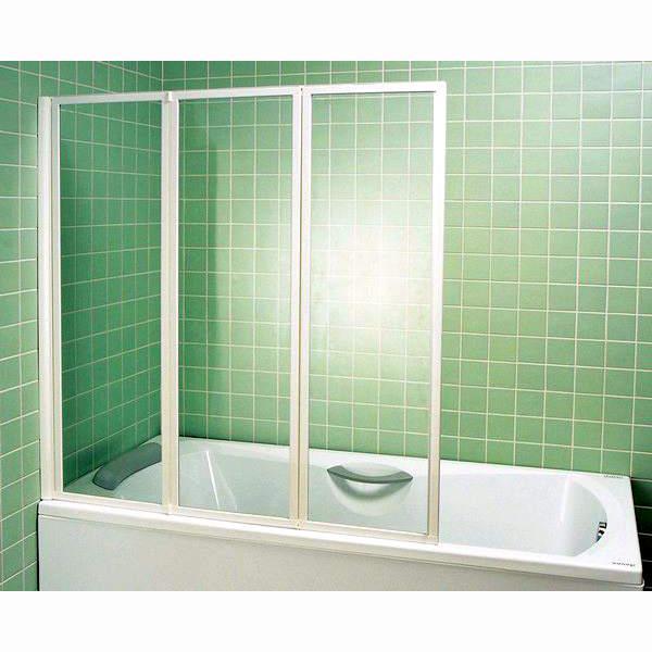 Шторка для ванны Ravak VS3 130 белый профиль, прозрачное стекло