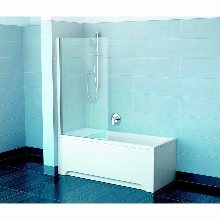 Шторка для ванны Ravak CVS1 80 L белый профиль, прозрачное стекло шторка для ванны ravak cvs1 80 l блестящий профиль прозрачное стекло