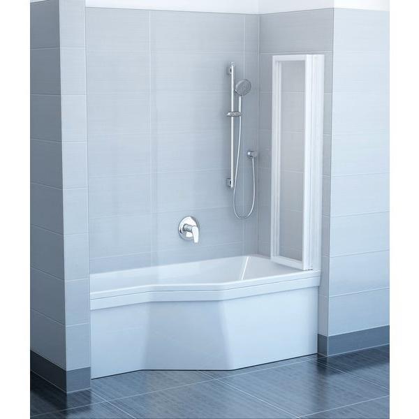 Шторка для ванны Ravak VS3 100 белый профиль, прозрачное стекло