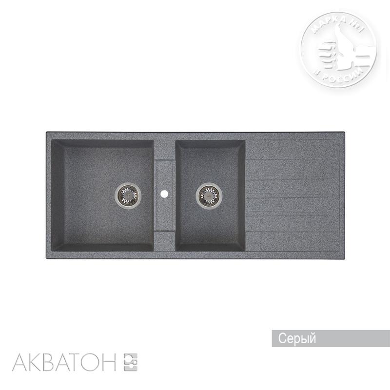 Мойка кухонная Акватон Торина двойная серый цены