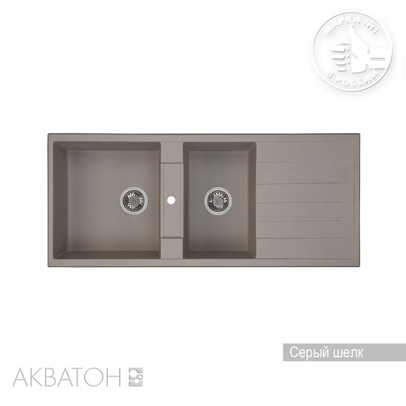 Мойка кухонная Акватон Торина двойная серый шелк цены