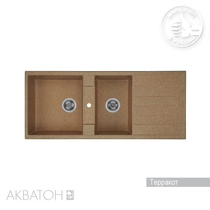 Мойка кухонная Акватон Торина двойная терракот мойка для кухни акватон вероно розовая 1a710032vr110