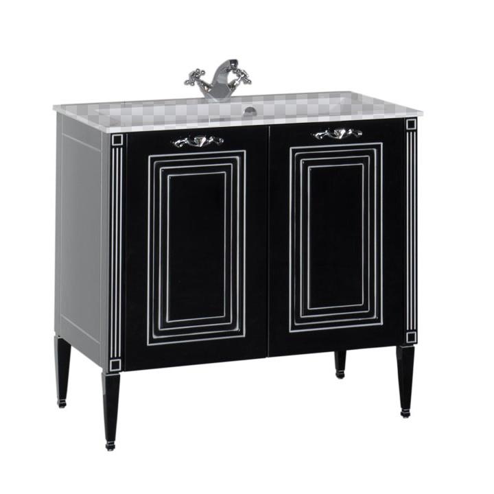 Тумба под раковину Aquanet Паола 90 черная патина серебро комплект мебели aquanet паола 182133