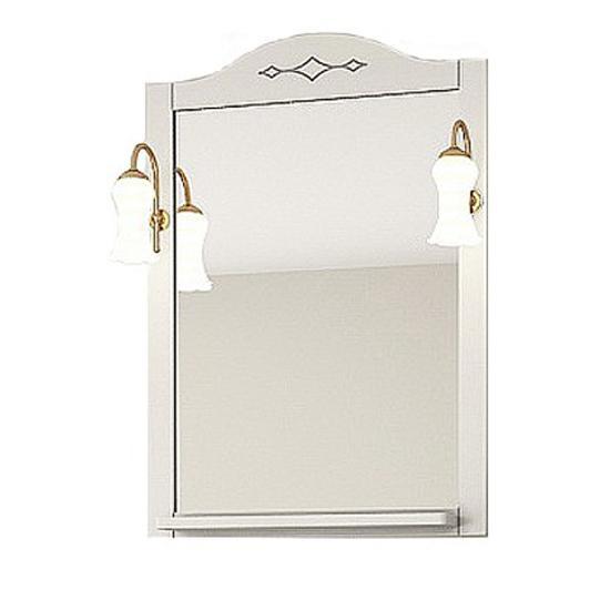 Зеркало АСБ мебель Флоренция Квадро 60 Woodline белый/патина серебро зеркало для ванной комнаты berossi с аксессуарами цвет белый