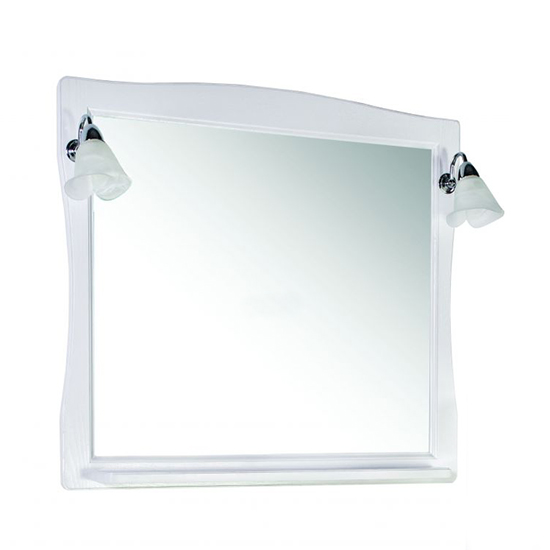 Зеркало АСБ мебель Модена 85 Woodline белый/патина серебро