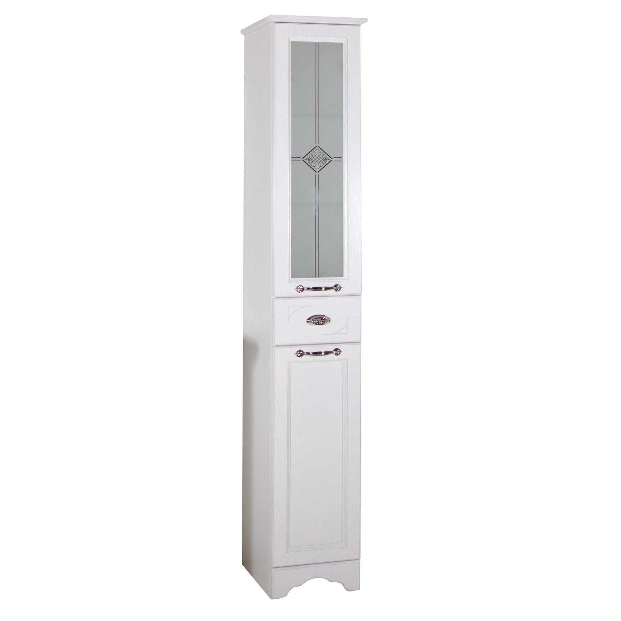 Пенал АСБ мебель Бергамо Woodline белый/патина серебро цена