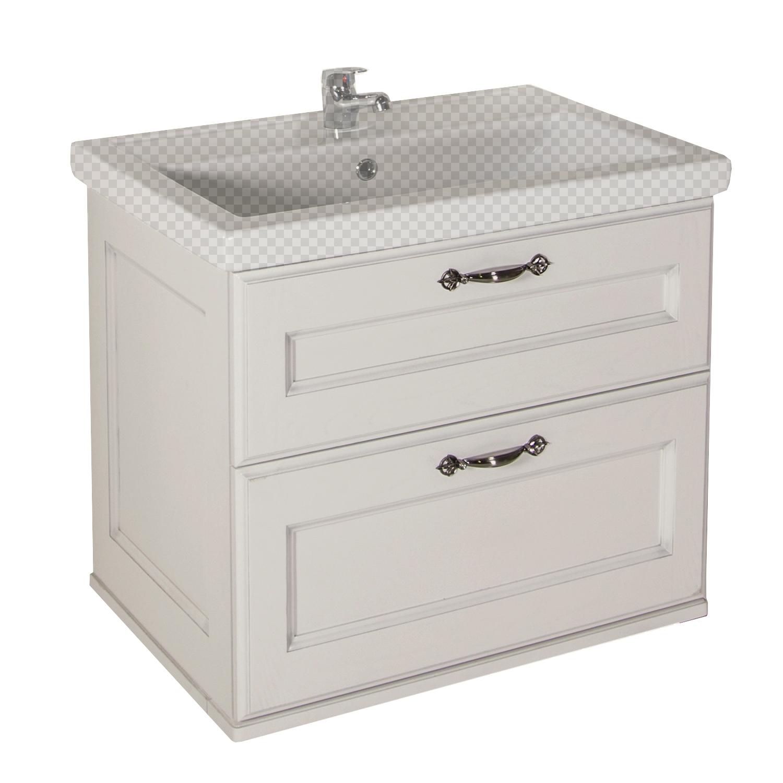 Тумба под раковину АСБ мебель Прато 70 Woodline белый/патина серебро тумба под раковину асб мебель магнолия 600 мм напольная дуб янтарный бел