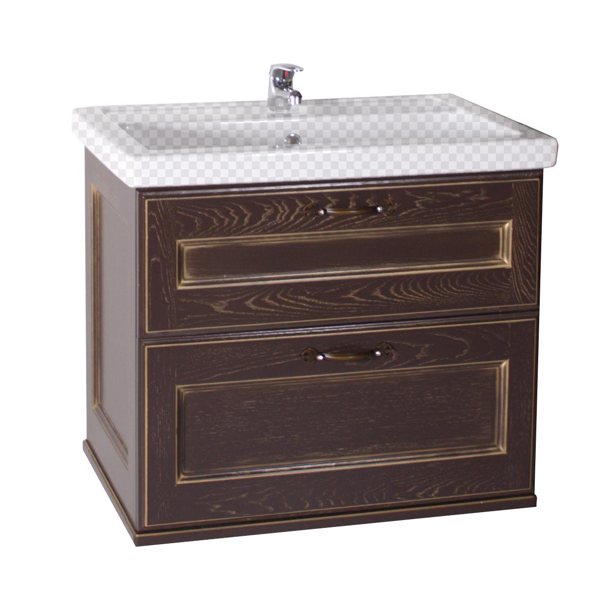 Тумба под раковину АСБ мебель Прато 70 Woodline орех/патина золото мебель 70