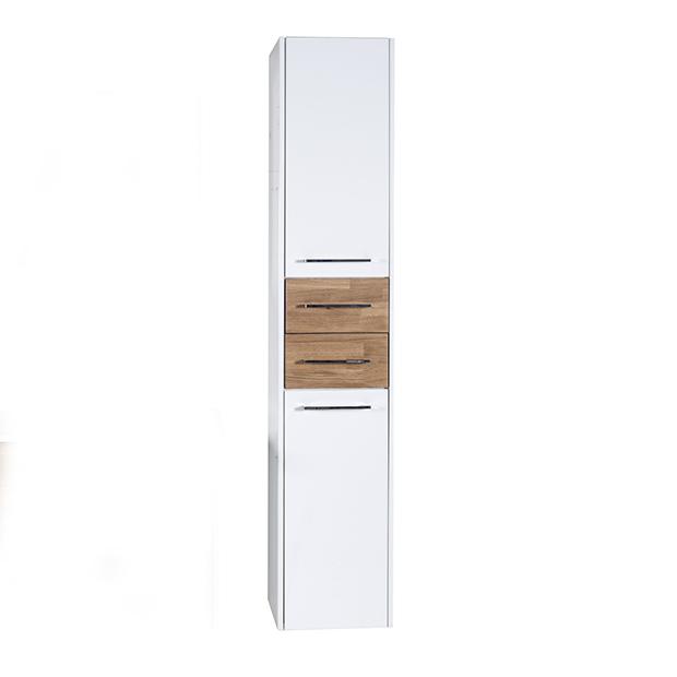 Пенал АСБ мебель Оскар 35 Woodline белый/Дуб золотой