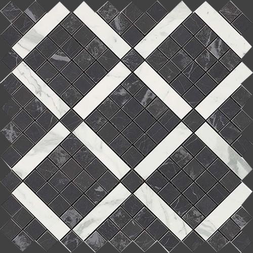 Мозаика Atlas Concorde Italy Marvel Pro +18303 Noir Mix Diagonal Mosaic 30,5х30,5 декор atlas concorde marvel pro noir s laurent brocade 30 5x91 5