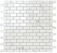 Мозаика Atlas Concorde Marvel Stone Porcelain +23625 Carrara P. Mosaico Lapp. Burattato бордюр atlas concorde admiration crema marfil spigolo 1x20
