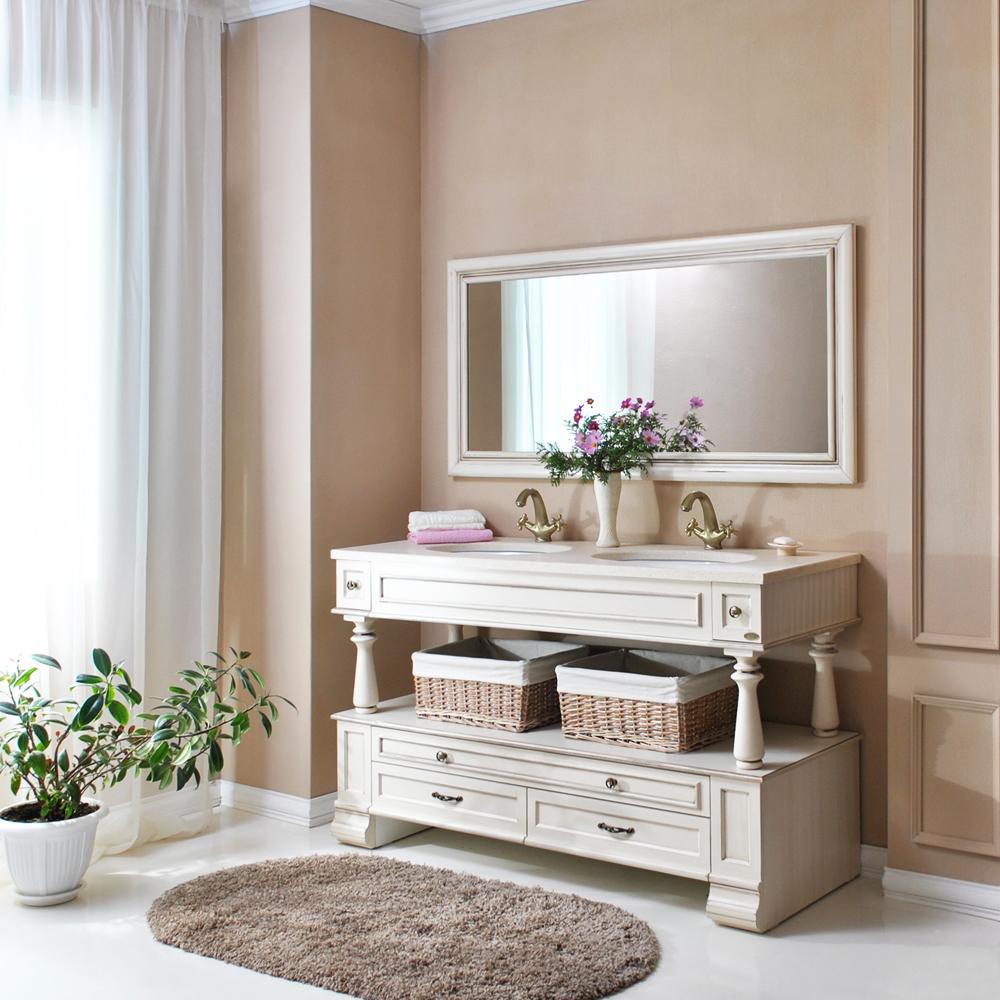 Мебель для ванной Атолл Джулия двойная Old ivory (слонова кость состаренная) тумба с раковиной атолл джулия двойная ivory серебро