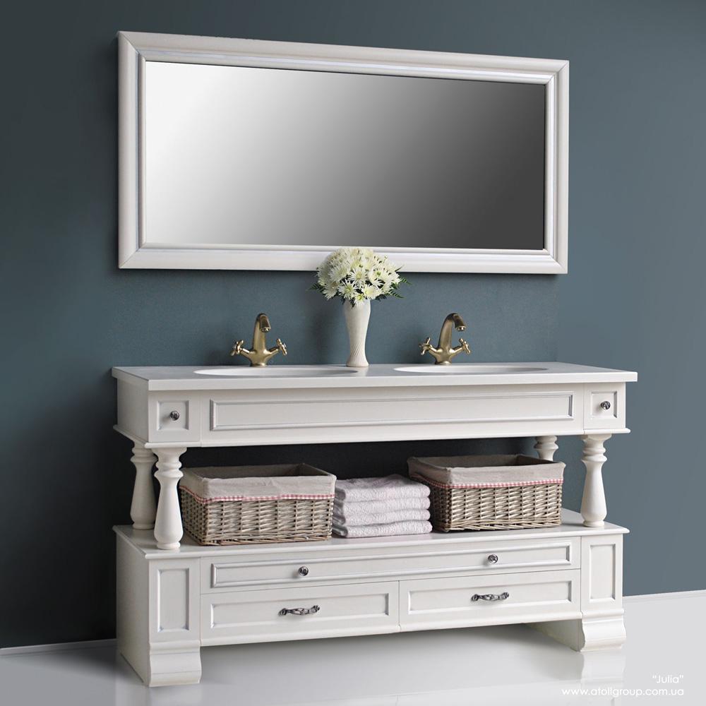 Мебель для ванной Атолл Джулия двойная ivory(серебро) тумба с раковиной атолл джулия двойная ivory серебро