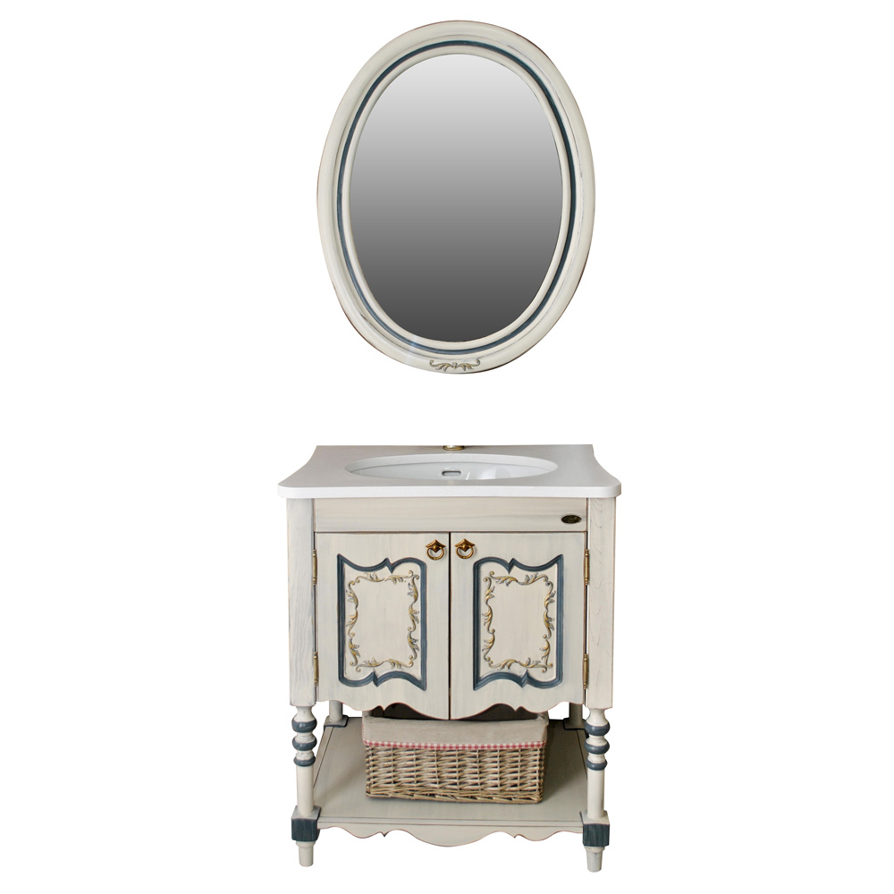 Мебель для ванной Атолл Флоренция ivory old (синяя патина) тумба с раковиной атолл флоренция ivory old