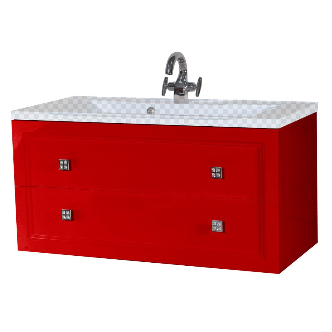 Тумба под раковину Bellezza Милан 100 красный тумба под раковину домино уют 50 смайл с 2 ящиками красный dd4056t