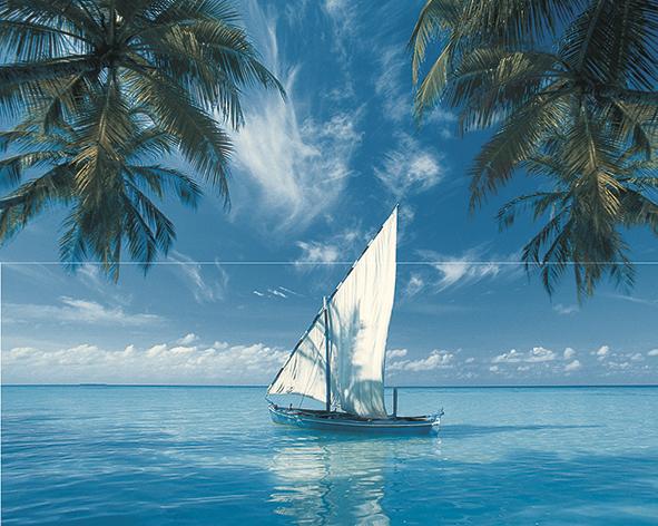 Ocean Sailboat Панно из 2-х плиток 40x50 цена