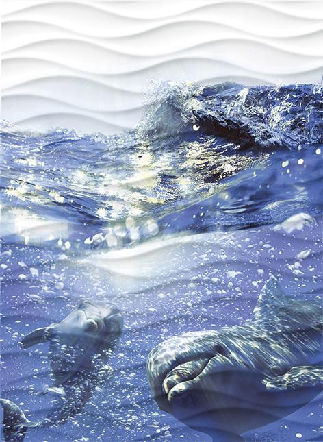 Wave Dolphins Панно (WA2T123D) 60x44 uhommi marine dolphins printed antiskid area rug