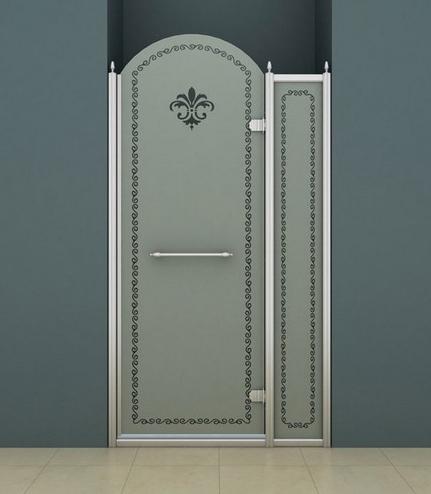 Душевая дверь Cezares Retro B11 100 CP Cr прозрачное стекло c матовым узором, профиль хром R душевая шторка на ванну cezares eco eco o v 11 120 140 p cr r