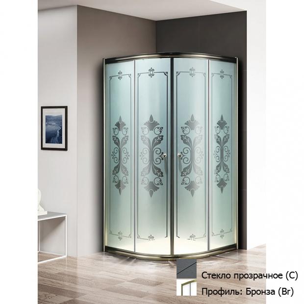 Душевой уголок Cezares GIUBILEO R 2 90 SCORREVOLE C Br прозрачное стекло, профиль бронза