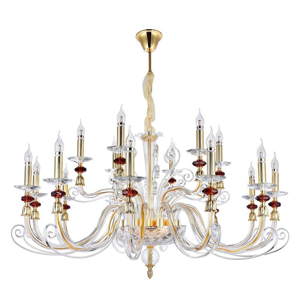 Люстра Crystal Lux Catarina SP12+6 Gold/Transparent-Cognac подвесная crystal lux подвесная люстра crystal lux catarina sp8 gold transparent cognac
