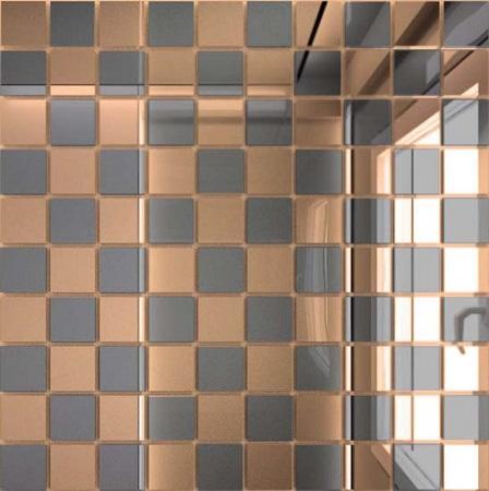 Мозаика зеркальная Бронза + Графит Б50Г50 ДСТ 25 х 25/300 x 300 мм (10шт) - 0,9 мозаичный декор дст зеркальная бронза 2 5x2 5 30x30