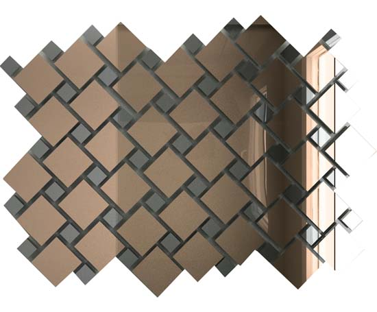 Мозаика зеркальная Бронза + Графит Б70Г30 ДСТ с чипом 25х25 и 12х12/300x300 мм (10шт) - 0,9 мозаичный декор дст зеркальная бронза 2 5x2 5 30x30