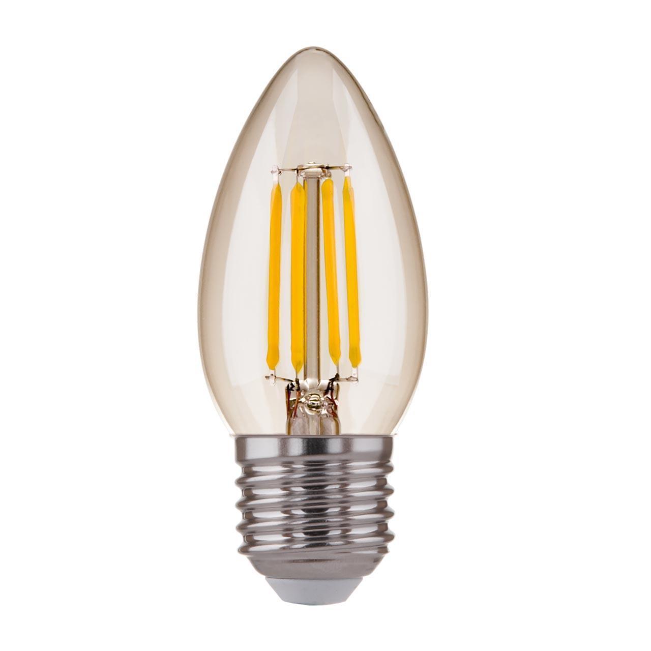 Лампа светодиодная филаментная E27 7W 3300K прозрачная 4690389125256 elektrostandard лампа светодиодная e14 7w 3300k шар матовый mini 4690389061622