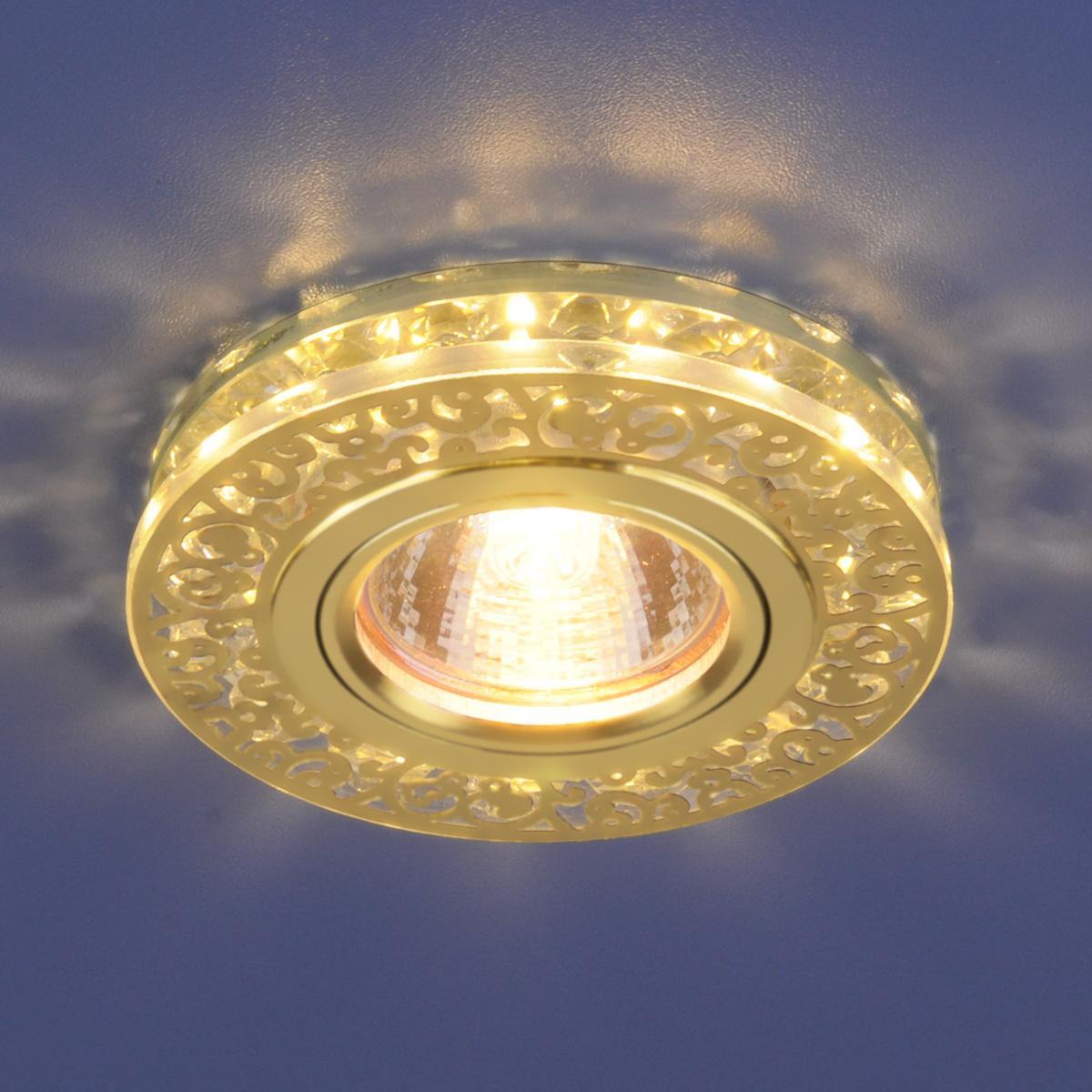 Встраиваемый светильник Elektrostandard 6034 MR16 GD/CL золото/прозрачный 4690389055720 светильник встраиваемый акцент 16001ba жемчужное золото золото