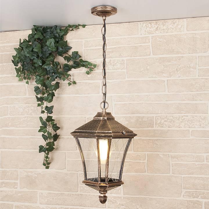 Уличный подвесной светильник Elektrostandard Virgo H черное золото 4690389064906 уличный подвесной светильник sagitta h 4690389064807 elektrostandard 1168528