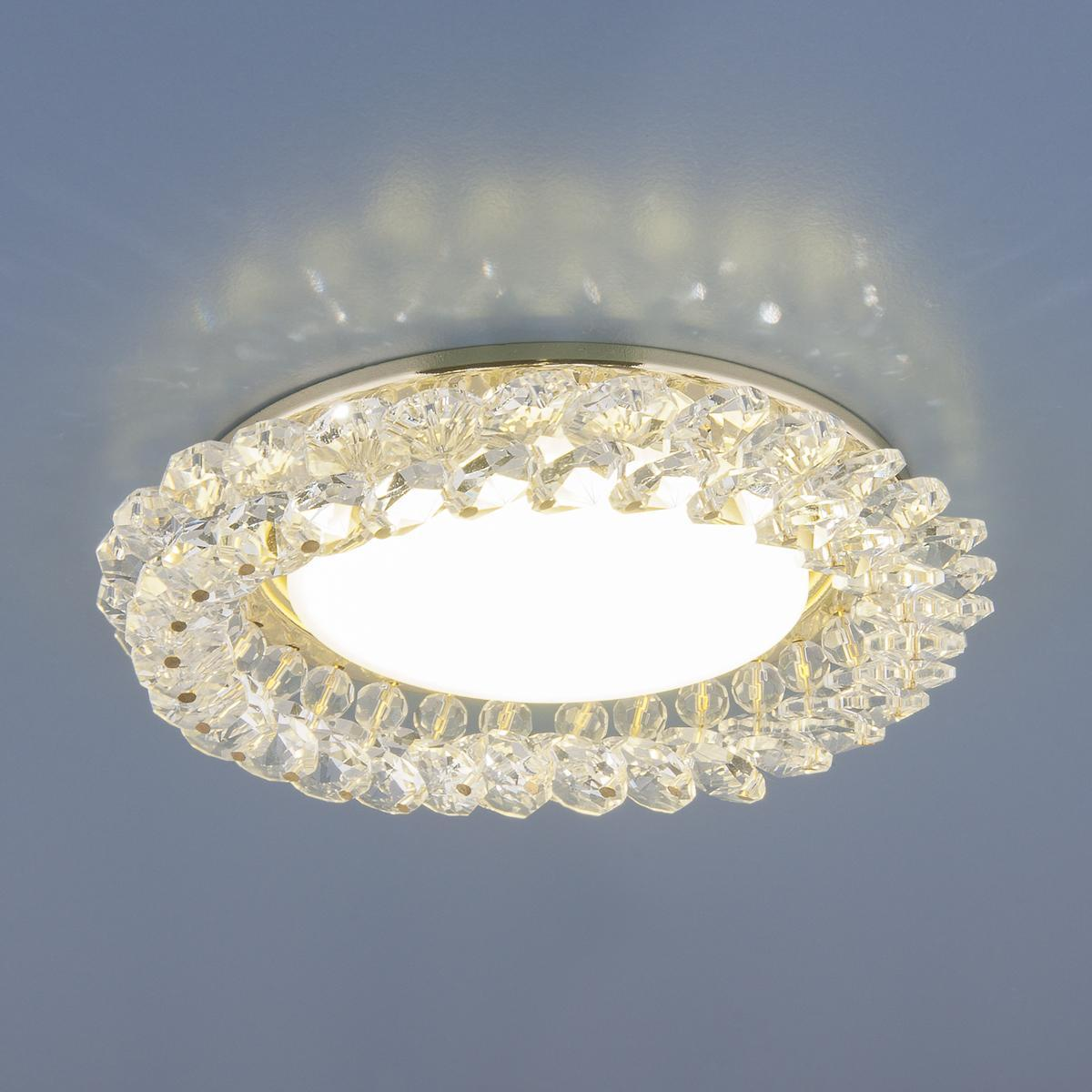 Встраиваемый светильник Elektrostandard 1063 GX53 GD/CL золото/прозрачный 4690389075674 встраиваемый светильник elektrostandard 1063 gx53 ch cl хром прозрачный 4690389075667