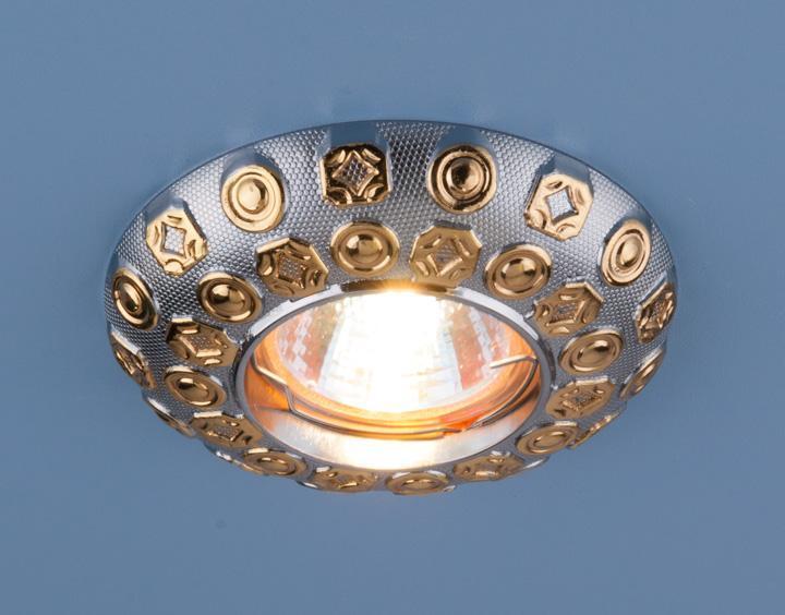 Встраиваемый светильник Elektrostandard 7219 MR16 CHG хром/золото 4690389052996 светильник встраиваемый акцент 11159bq жемчужное золото хром