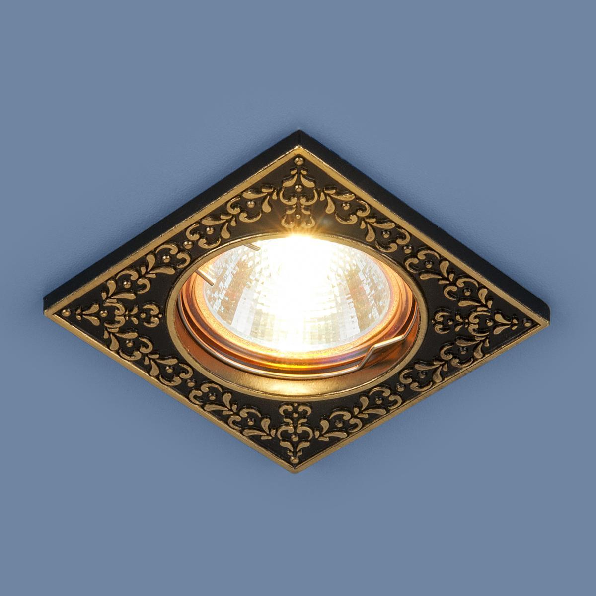Встраиваемый светильник Elektrostandard 120071 MR16 BK/GD черный/золото 4690389060335 светильник встраиваемый акцент 16001ba жемчужное золото золото