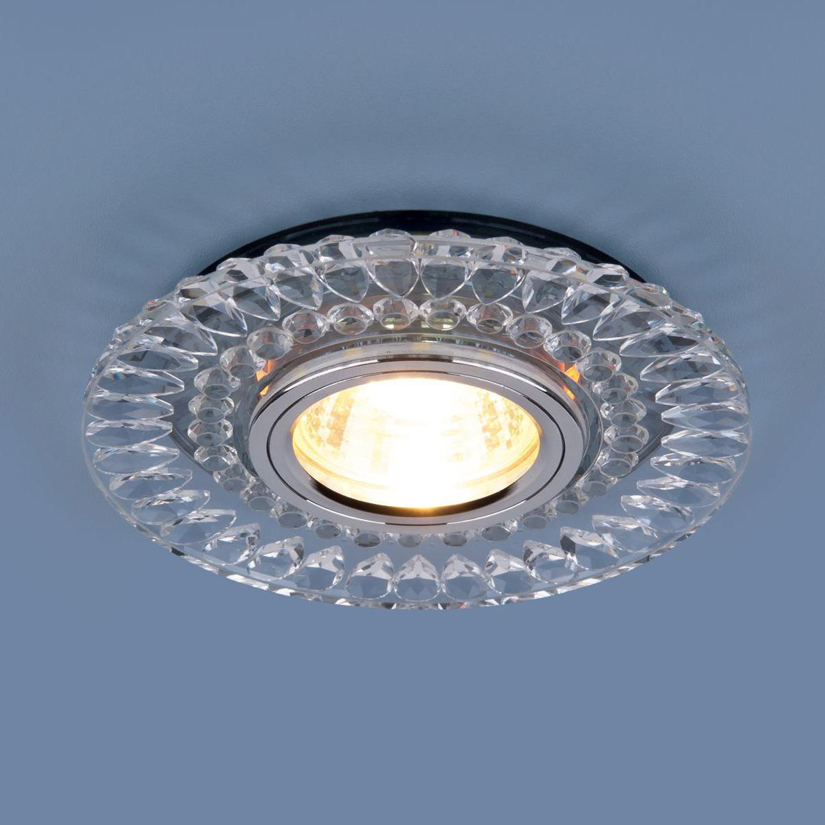 Фото - Встраиваемый светильник Elektrostandard 2197 MR16 CL/SL прозрачный/серебро 4690389101021 cветильник галогенный de fran встраиваемый 1х50вт mr16 ip20 зел античное золото