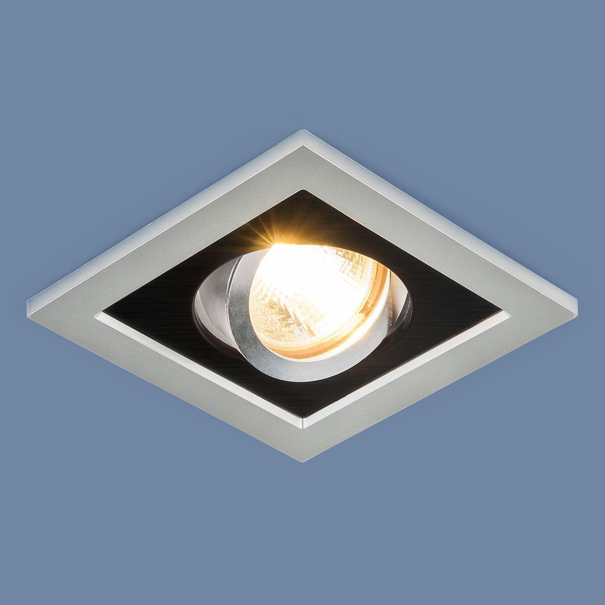 Фото - Встраиваемый светильник Elektrostandard 1031/1 MR16 SL/BK серебро/черный 4690389095405 cветильник галогенный de fran встраиваемый 1х50вт mr16 ip20 зел античное золото