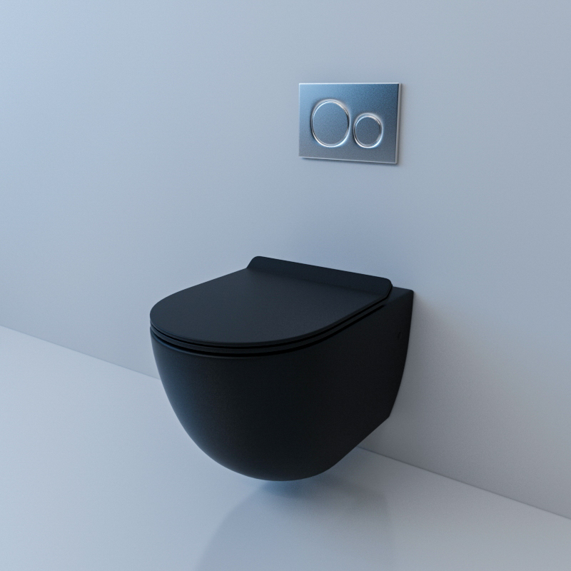 Подвесной унитаз Esbano Garcia Matt Black комплект iddis ne01ps0i73 унитаз подвесной инсталляция сиденье с функцией soft close