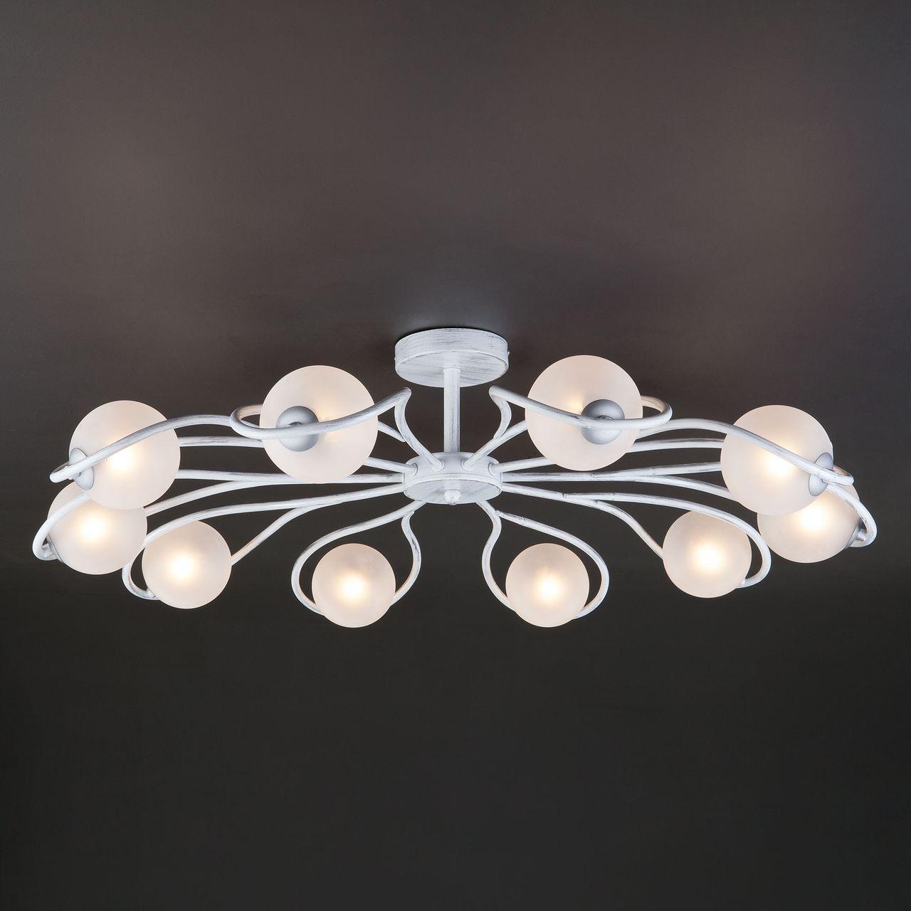 Люстра Eurosvet Camomile 70089/10 белый с серебром потолочная люстра eurosvet camomile 70089 10 белый с серебром