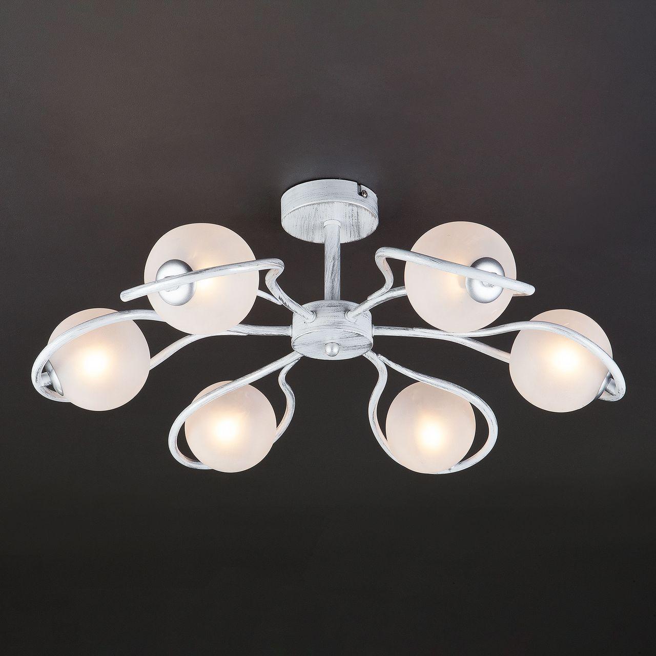 Люстра Eurosvet Camomile 70089/6 белый с серебром потолочная люстра eurosvet camomile 70089 6 белый с серебром