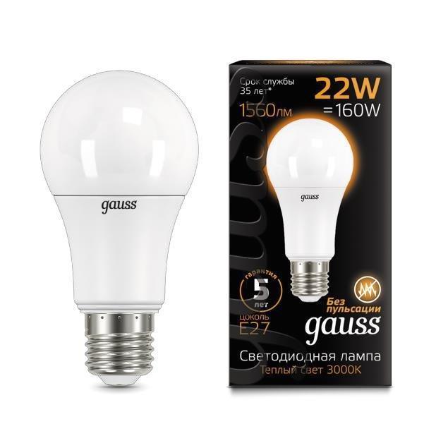 Лампа светодиодная E27 22W 3000К матовая 102502122 gauss лампа светодиодная gauss candle свеча матовая e27 9 5w 3000к 103102110