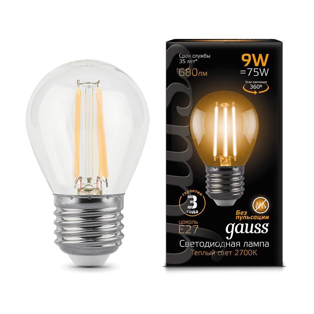 Лампа светодиодная филаментная E27 9W 2700K прозрачная 105802109 gauss лампа светодиодная gauss filament globe шар прозрачный e27 9w 2700k 105802109