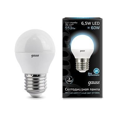 Лампа светодиодная E27 6.5W 4100K матовая 105102207 goodeck лампа светодиодная goodeck рефлекторная матовая gu10 5 5w 4100k gl1007024206