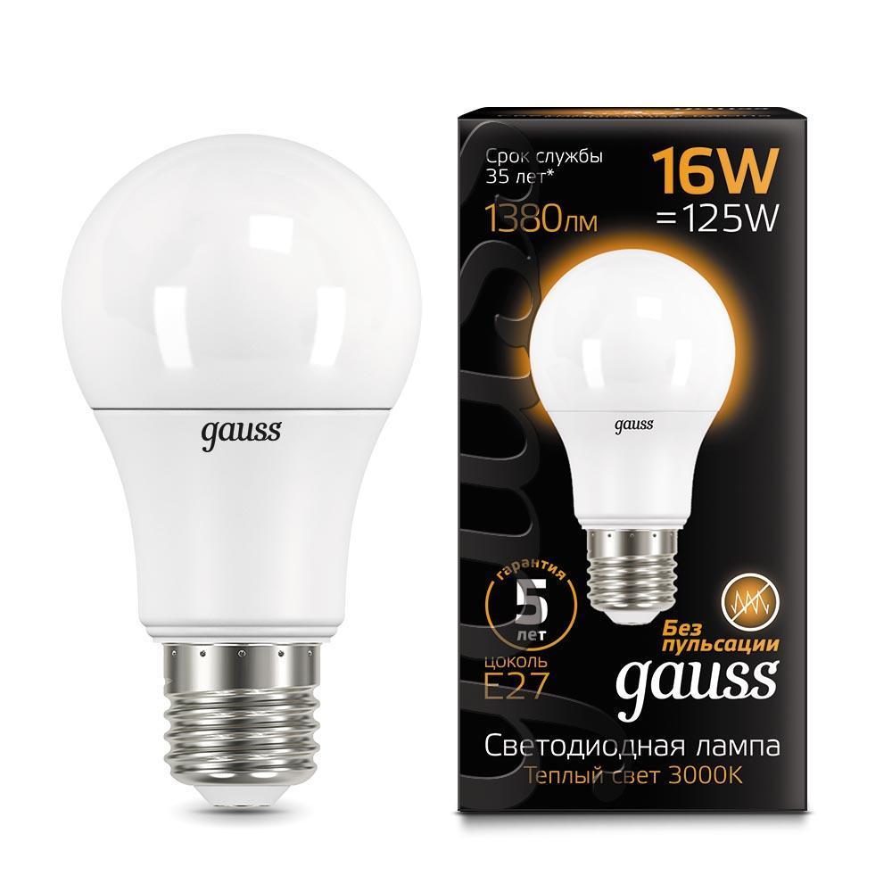 Лампа светодиодная E27 16W 3000K матовая 102502116 цена