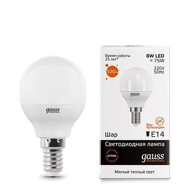 Лампа светодиодная E14 8W 3000K матовая 53118 gauss лампа светодиодная gauss шар матовый e14 8w 2700k 53118