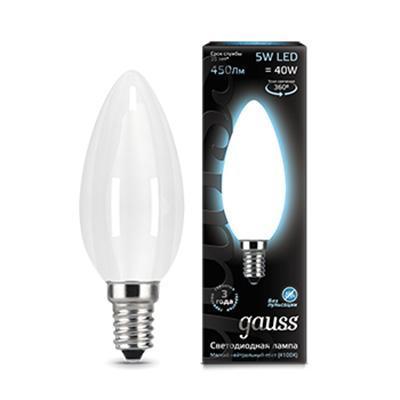 Лампа светодиодная филаментная E14 5W 4100К матовая 103201205 gauss лампа светодиодная gauss candle свеча матовая e14 9 5w 4100к 103101210